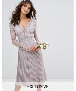 TFNC | Плиссированное Платье Миди С Длинными Рукавами И Кружевными Вставками Wedding