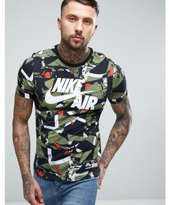 Nike | Зеленая Футболка С Камуфляжным Принтом Air 834575-102