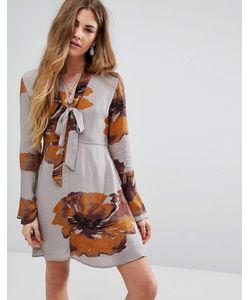Honey Punch | Платье На Пуговицах С Завязкой На Горловине