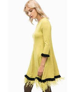 Twin-Set Simona Barbieri | Трикотажное Платье С Отделкой Перьями