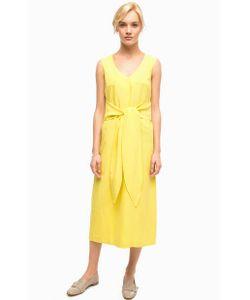 Stefanel | Длинное Желтое Платье С Треугольным Вырезом