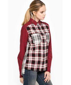 Diesel   Красная Рубашка В Клетку Свободного Кроя Из Вискозы Полиэстера И Хлопка