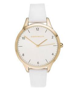 Karen Millen   Часы С Белым Кожаным Ремешком