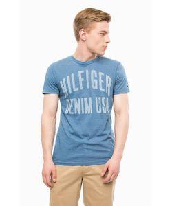 Hilfiger Denim | Синяя Хлопковая Футболка С Принтом