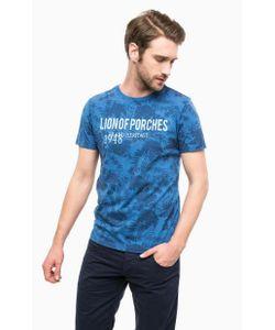 Lion Of Porches | Синяя Хлопковая Футболка С Цветочным Принтом