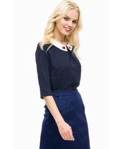 Sugarhill Boutique   Синяя Блуза С Контрастным Воротником И Вышивкой
