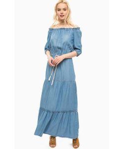 Kocca | Длинное Синее Платье С Ярусной Юбкой