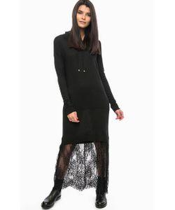 Twin-Set Simona Barbieri | Черное Трикотажное Платье С Кружевной Вставкой