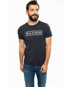 Tommy Hilfiger | Синяя Хлопковая Футболка С Принтом