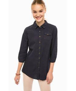 Luhta | Темно-Синяя Приталенная Рубашка С Карманом
