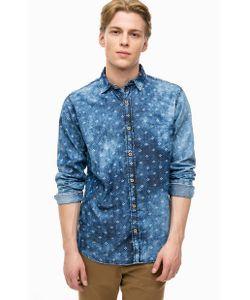 Pepe Jeans London | Синяя Приталенная Рубашка Из Хлопка