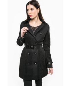 Guess | Черное Пальто С Отложным Воротником