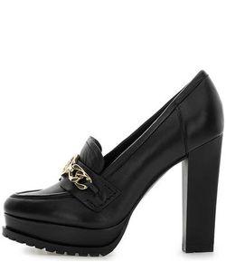 Guess | Черные Кожаные Туфли На Устойчивом Каблуке