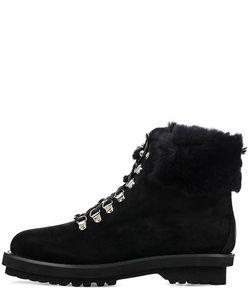MASSIMO SANTINI | Черные Замшевые Ботинки С Меховой Отделкой