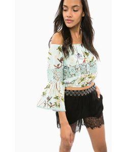 Guess | Блуза Мятного Цвета С Цветочным Принтом