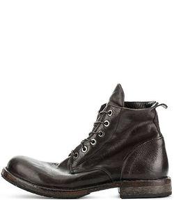 Moma | Кориневые Кожаные Ботинки На Шнуровке