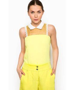 Pinko   Желтая Блуза С Отложным Воротником