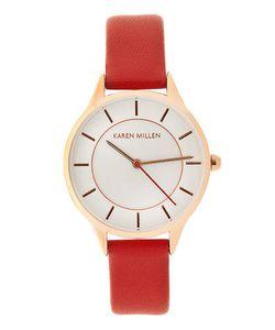 Karen Millen   Часы С Белым Циферблатом И Красным Кожаным Ремешком