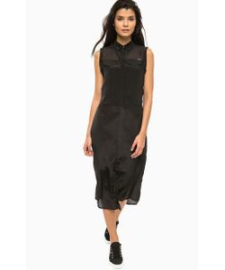 Calvin Klein Jeans | Черное Платье С Вырезом На Пуговицах