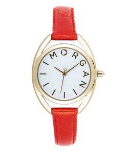 Morgan | Часы Из Нержавеющей Стали С Оранжевым Кожаным Браслетом