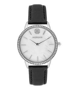 Morgan | Часы С Черным Кожаным Браслетом И Отделкой Кристаллами