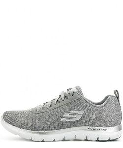 Skechers | Серебристые Текстильные Кроссовки На Шнурках