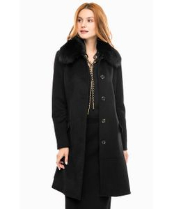 Michael Michael Kors | Черное Шерстяное Пальто С Воротником Из Меха Лисицы