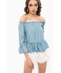 Guess | Синяя Джинсовая Блуза С Длинными Рукавами