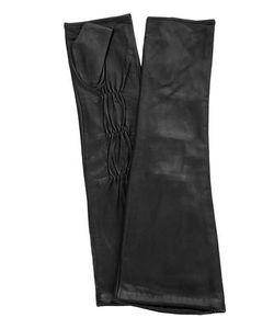 Eleganzza | Черные Кожаные Перчатки Без Пальцев