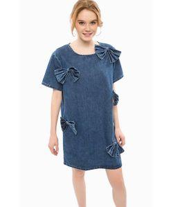 Glamorous | Короткое Джинсовое Платье С Нашивками-Бантами
