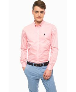 U.S. Polo Assn. | Приталенная Рубашка Из Хлопка Розового Цвета