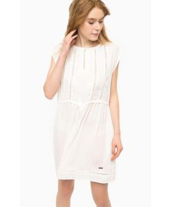 Pepe Jeans | Платье Молочного Цвета С Нашивками