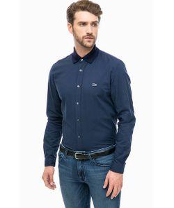 Lacoste | Синяя Приталенная Рубашка Из Хлопка