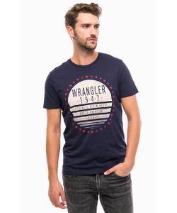Wrangler | Синяя Хлопковая Футболка С Принтом