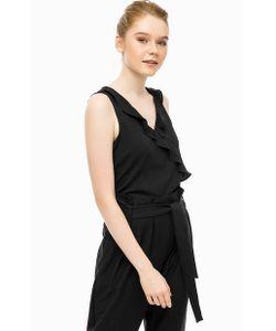 Vero Moda | Черная Блуза С Оборкой По Переду
