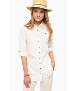 Luhta | Приталенная Рубашка Молочного Цвета С Карманом