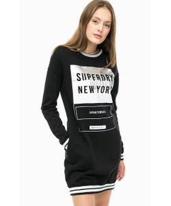 Superdry | Черное Хлопковое Платье С Принтом