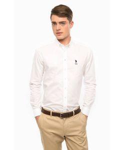 U.S. Polo Assn. | Приталенная Рубашка Из Хлопка Белого Цвета