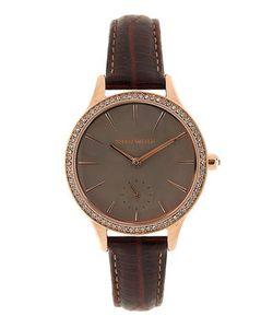 Karen Millen   Часы С Коричневым Кожаным Браслетом И Отделкой Кристаллами Swarowski
