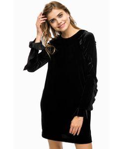 Pinko | Бархатное Черное Платье С Воланами