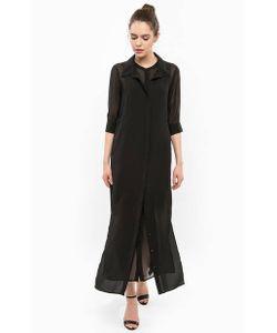 Silvian Heach | Длинное Черное Платье На Пуговицах