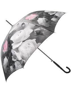 Flioraj | Зонт-Трость С Куполом Серого Цвета С Цветочным Принтом