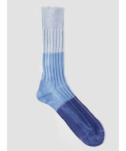 Anonymous Ism | Triple Dip Dye Socks Light Indigo Menswear
