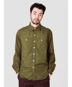 Engineered Garments   Work Shirt Olive Pima Poplin Menswear