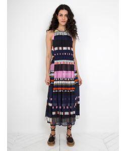 A PIECE APART | Silk Crinkle Lippard Dress Navy Abstract Stripe