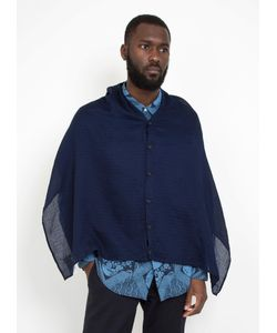 Engineered Garments | Button Shawl Navy Solid Gauze