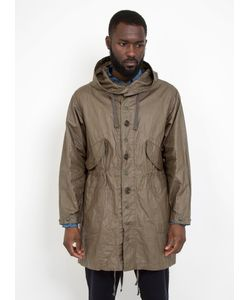 Engineered Garments | Highland Parka Olive Coated Linen