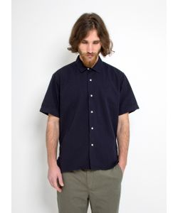 Gitman Vintage   Vintage Camp Shirt Navy Seersucker