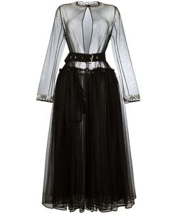 Givenchy | Sheer Tulle Belted Dress 36 Polyester/Wool/Acetate/Brass