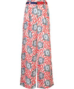 Michel Klein | Abstract Print Palazzo Trousers 38 Silk